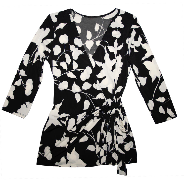 Shop TBYB - Monroe Wrap Top - Black and White Tulip