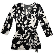 Monroe Wrap Top - Black and White Tulip // Redeem 50% Off