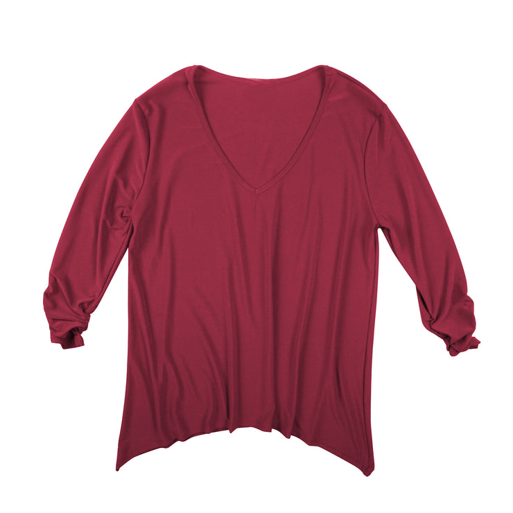 Bacall V-Neck Top - Burgundy // Redeem 50% Off