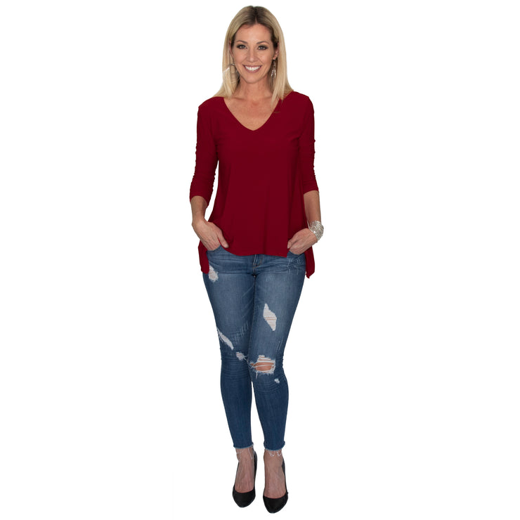 Bacall V-Neck Top - Burgundy