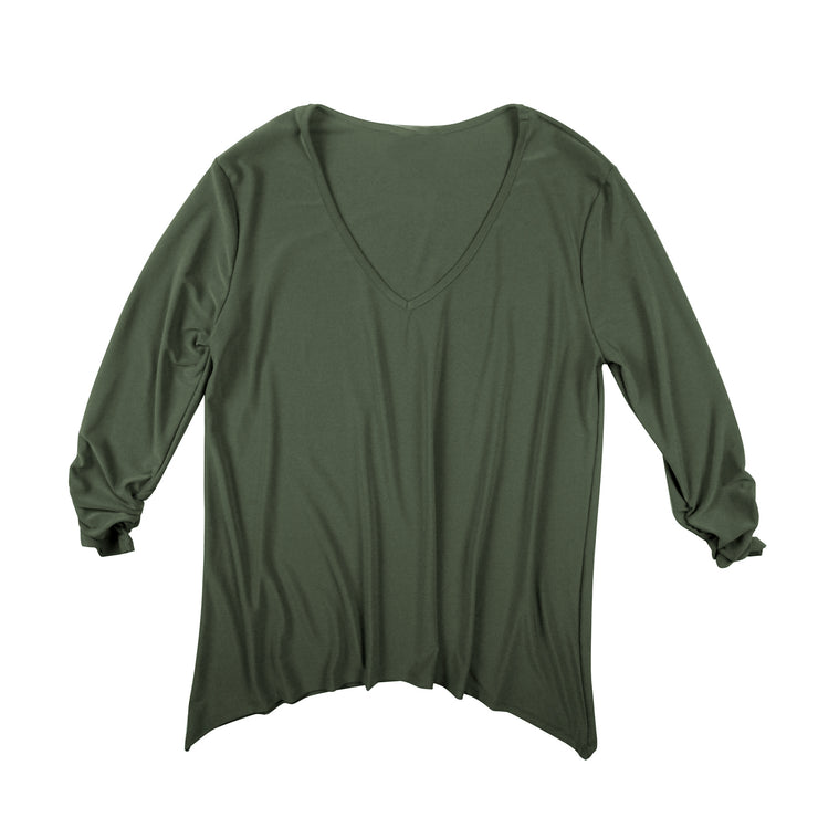 TBYB (Stylist) - Bacall V-Neck Top - Olive