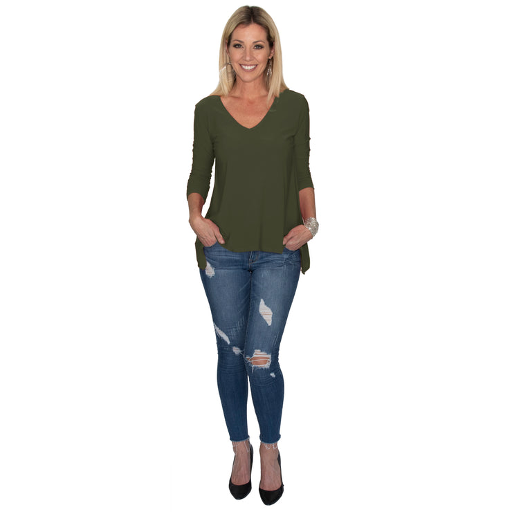 Shop TBYB - Bacall V-Neck Top - Olive