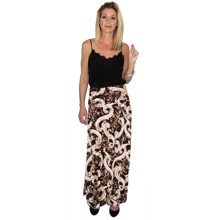 TBYB (Stylist) - Bardot Skirt - Black & Tan Scroll