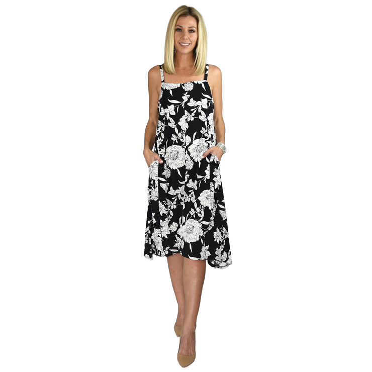 Campbell Pocket Dress - Black & White Floral