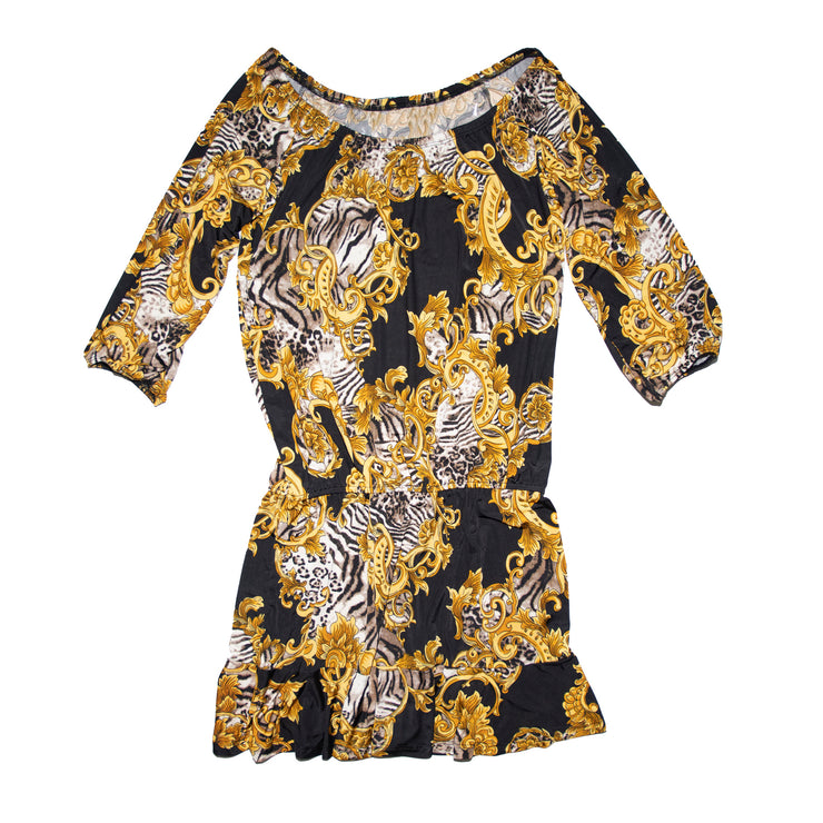 TBYB (Stylist) - Crawford Romper Dress - Gold Scroll