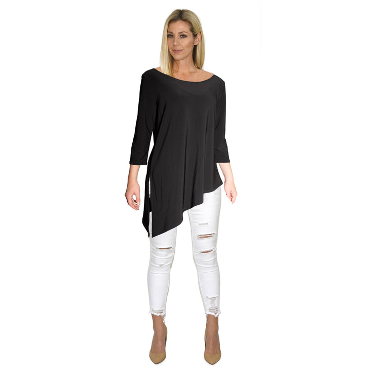 Grace Boat Neck Top - Black // Redeem 50% OFF