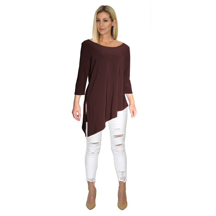 TBYB (Stylist) - Grace Boat Neck Top - Brown