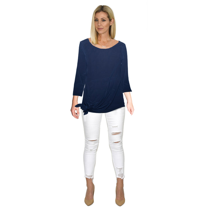TBYB - Grace Boat Neck Top - Navy // Redeem 50% Off