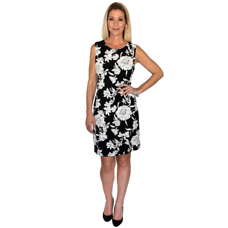 Joan Shift Dress - Black & White Floral