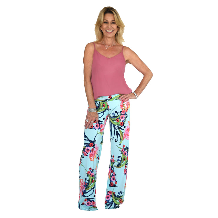 Keaton Palazzo Pants - Ice Blue Floral