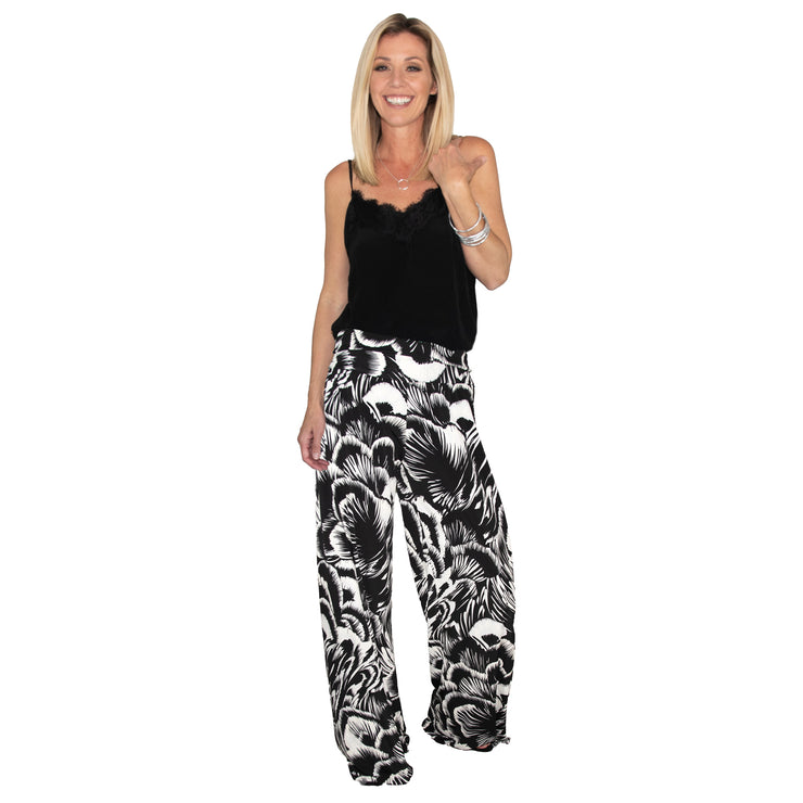 Keaton Palazzo Pants - Black Feather