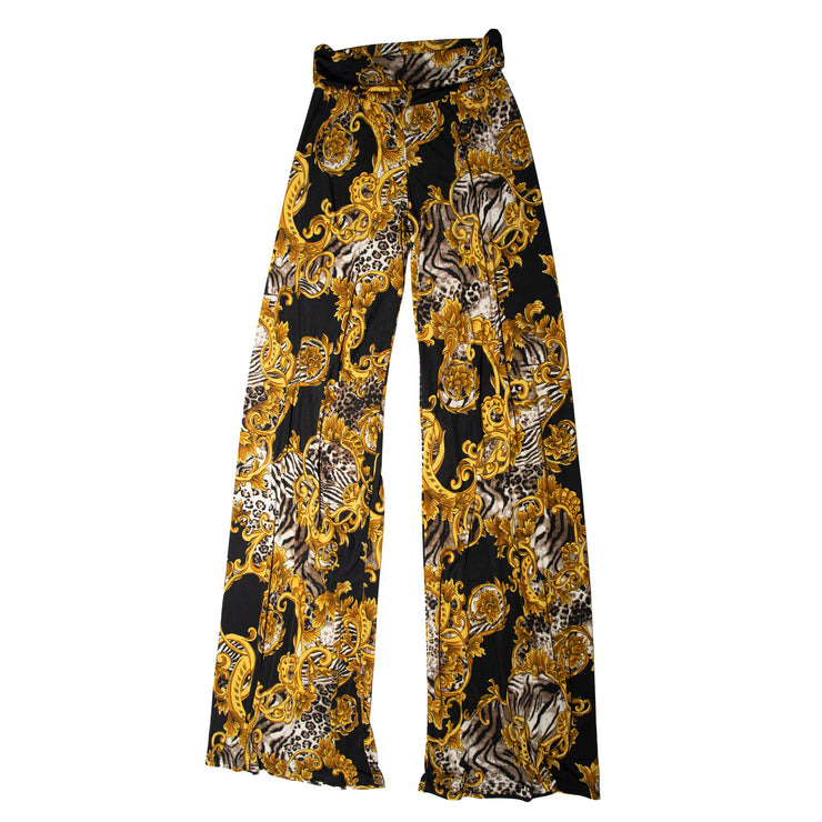 Keaton Palazzo Pants - Gold Scroll