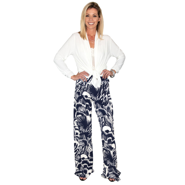 Keaton Palazzo Pants - Navy Feather