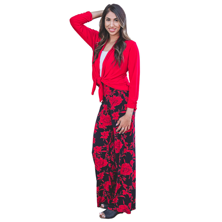 Keaton Palazzo Pants - Red Navy Floral // Redeem 50% Off