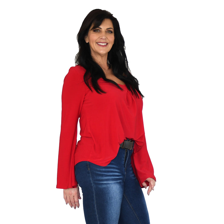 Hutton Bell Sleeve Top - Red - Redeem 50% Off