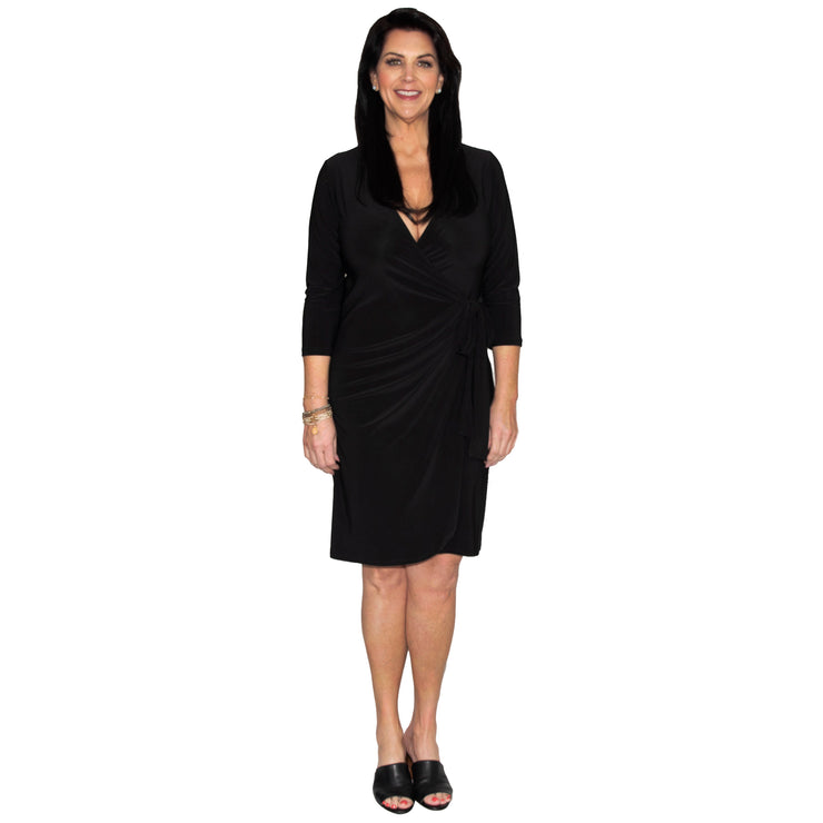 Monroe Wrap Dress - Black // Redeem 50% Off