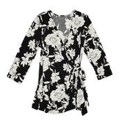 Monroe Wrap Top - Black & White Floral