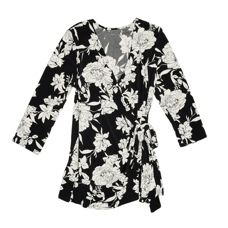 TBYB - Monroe Wrap Top - Black & White Floral // Redeem 50% Off