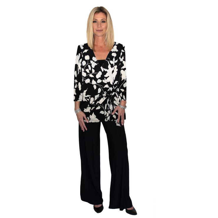 TBYB (Stylist) - Monroe Wrap Top - Black and White Tulip