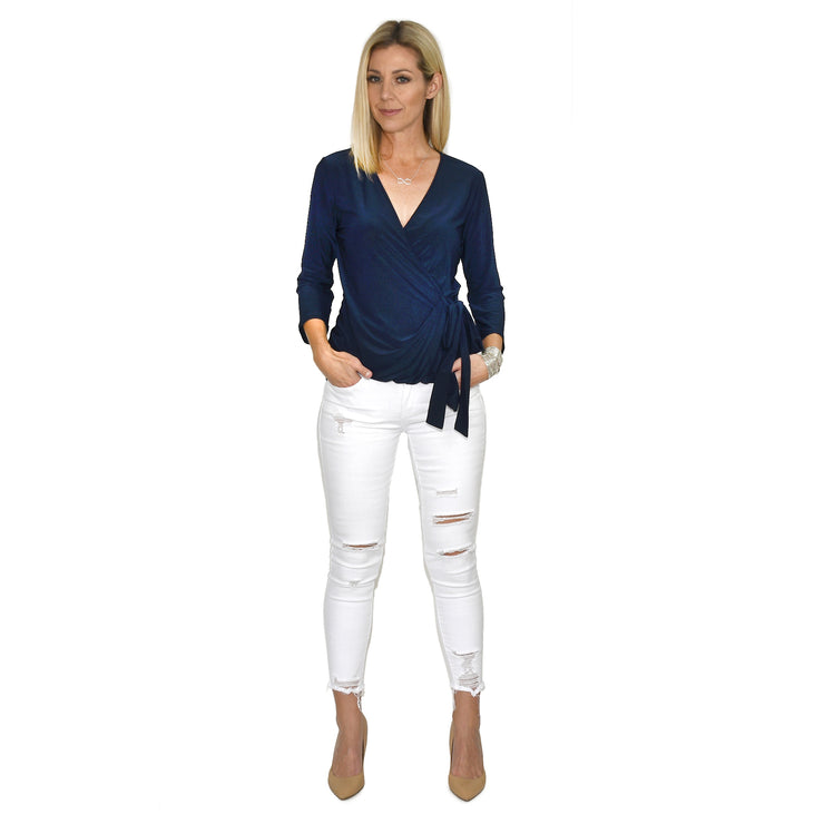 Monroe Wrap Top - Navy // Redeem 50% Off