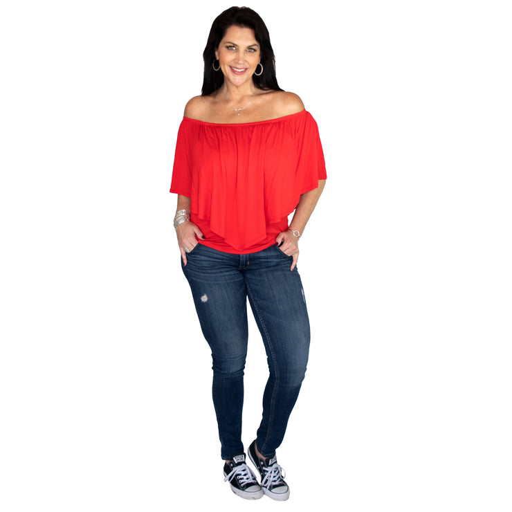 Ross Off Shoulder Top - Red