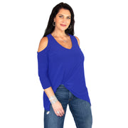 Taylor Cold Shoulder Top - Royal // Redeem 50% Off
