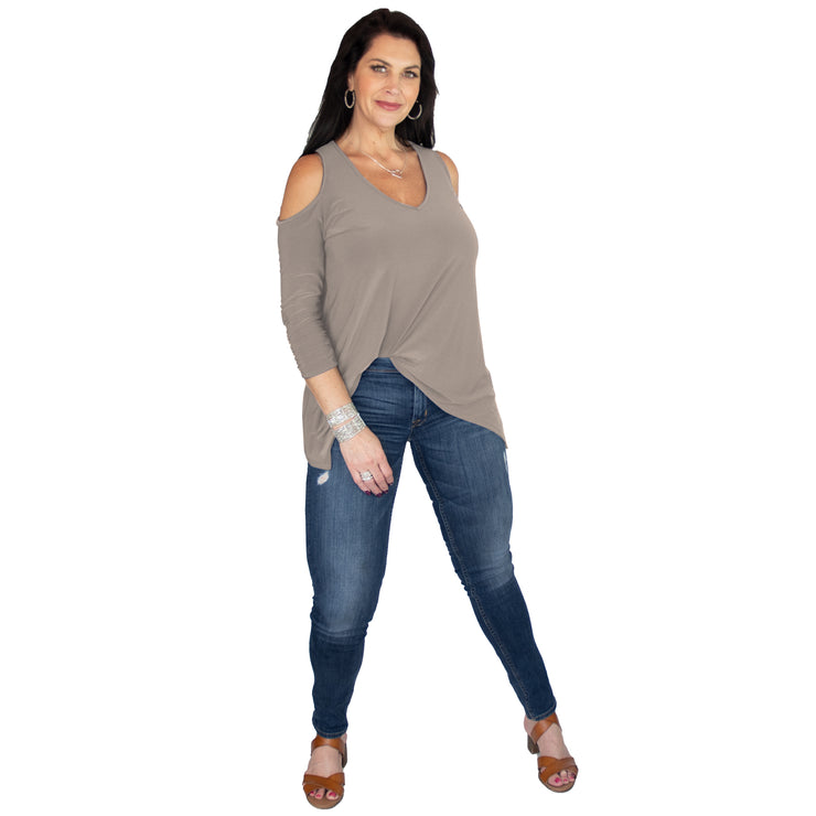 TBYB - Taylor Cold Shoulder Top - Tan // Redeem 50% Off