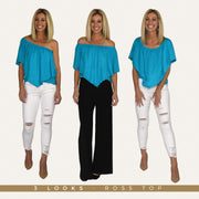 Ross Off Shoulder Top - Turquoise