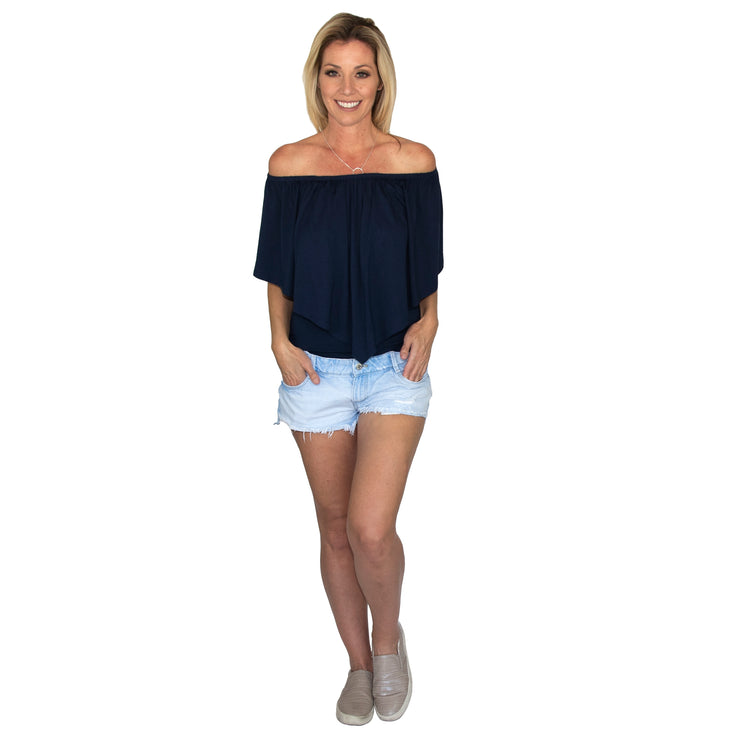 TBYB (Stylist) - Ross Off Shoulder Top - Navy