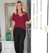 Savannah Casual Top - Burgundy