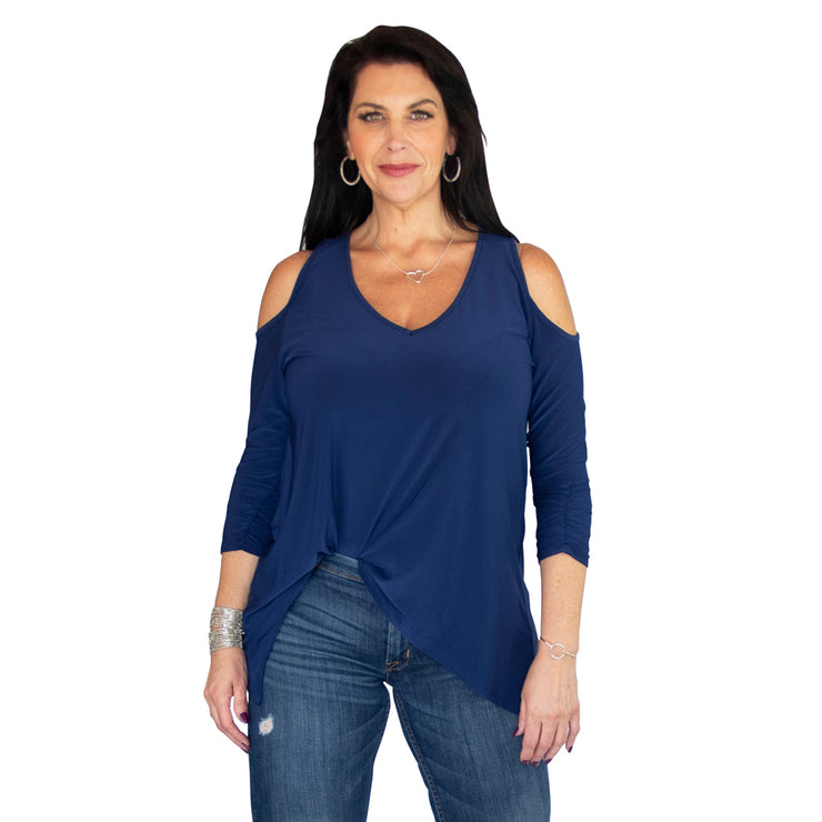 TBYB - Taylor Cold Shoulder Top - Navy // Redeem 50% Off