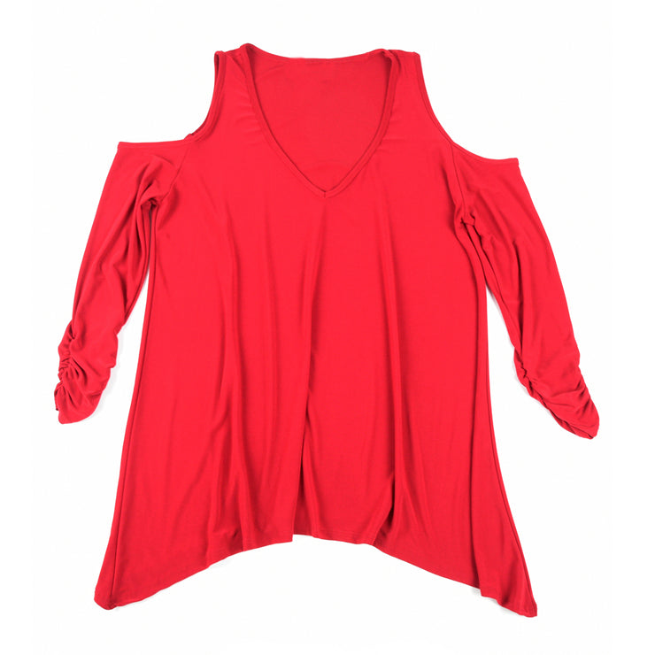 TBYB - Taylor Cold Shoulder Top - Red // Redeem 50% Off