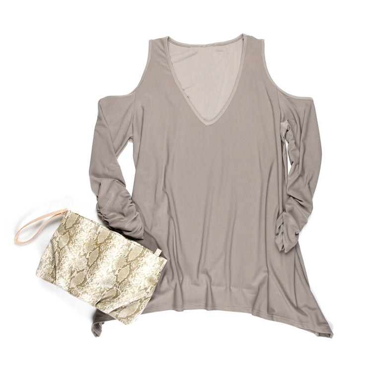 Taylor Cold Shoulder Top - Tan