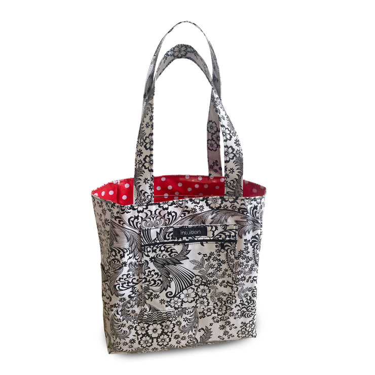 Katie Reversible Tote - Paradise Lace/ Red-White Polka Dot