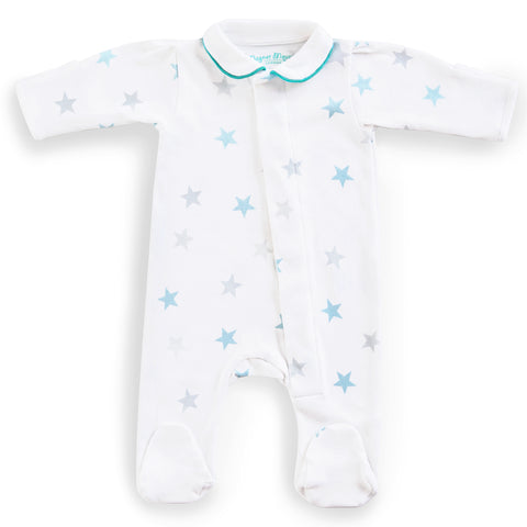 Teal Stars Babygrow: With Piped Peter Pan Collar