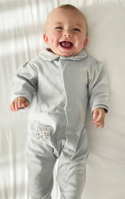 Grey Cotton Onesie: with Liberty Stars Pocket
