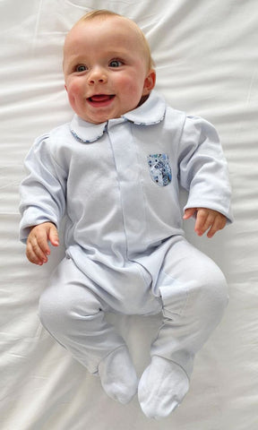 Blue Cotton Onesie: with Liberty Carnival Pocket