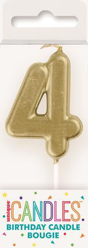 19954 - Mini Gold Numeral Pick Candles - 4