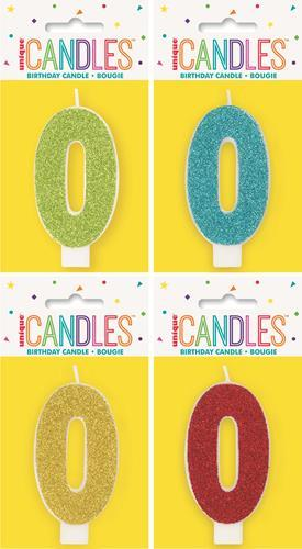 19960 - Numeral Candle 0 - Glitter - 4 Assorted Colours Each Inner