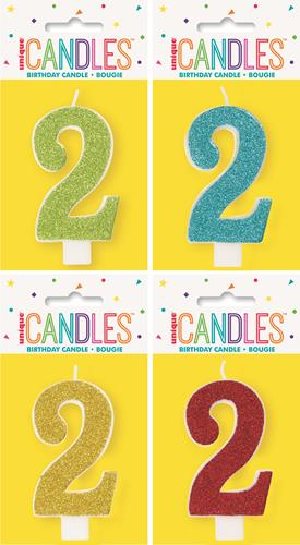 19962 - Numeral Candle 2 - Glitter - 4 Assorted Colours Each Inner