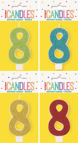 19968 - Numeral Candle 8 - Glitter - 4 Assorted Colours Each Inner