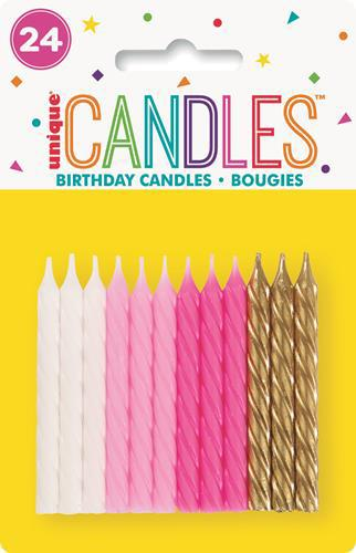 19972 - 24 Sprial Candles Pink Assorted - Bright