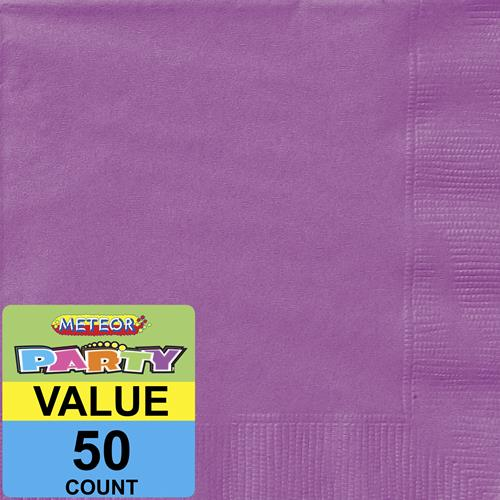 "34487 - Pretty Purple 50 Luncheon Napkins 2ply 33cm x 33cm (13"" x 13"")"