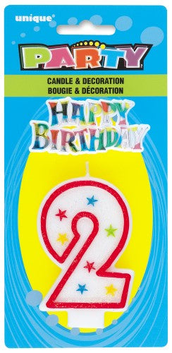 37312 - Numeral Candle With Happy Birthday Cake Topper - 2