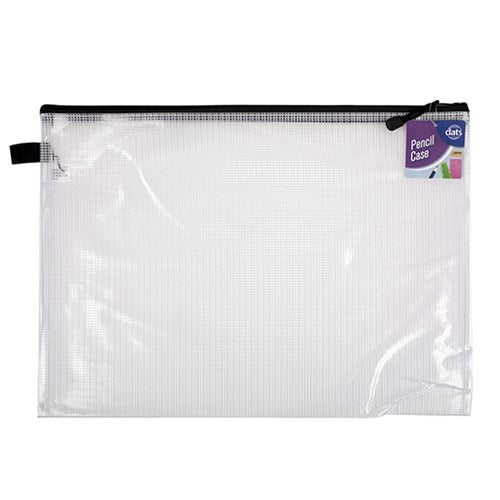 Pencil Case 1 Zip Mesh Clear 345x240mm