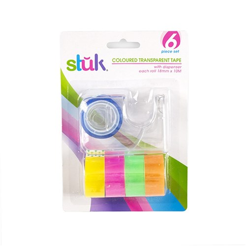Tape Transparent Coloured w Dispenser 18mm x 10M 5pk