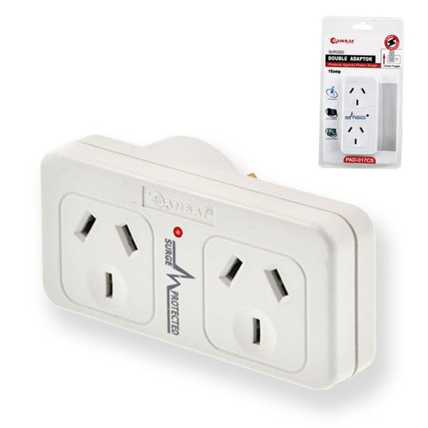 Left Hand Surge Protected Double Adaptor