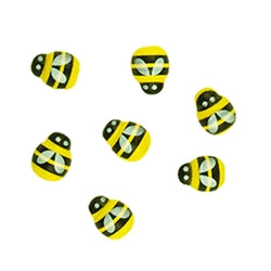 Wooden Bees Assorted 15mm 40pcs