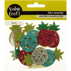 Felt Glitter Pineapples Assorted 8pcs