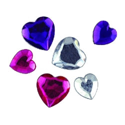 Hearts Asst Sizes Hot Pink/Purple/Crystal 36pcs